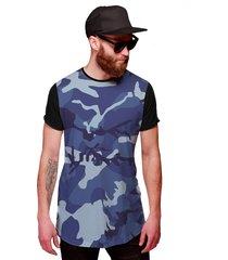 camiseta di nuevo longline camuflada azul exército personalizada preta