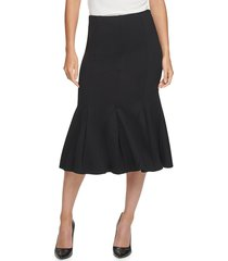 donna karan women's lightweight ponte flare skirt - black - size s