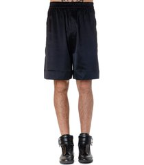 laneus black silk relaxed fit shorts