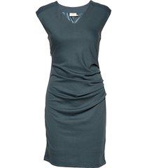 india v-neck dress knälång klänning blå kaffe