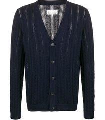 maison margiela open knit v-neck cardigan - blue