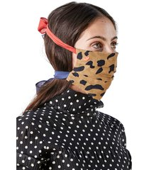 clare v. bowie adult print pleated tie strap cotton face mask, size one size - beige