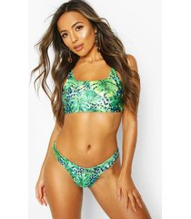 tropical leopard v front crop bikini, blue