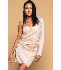 akira it only gets better mini one sleeve dress with corset