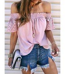 yoins fruncido diseño blusa de hombro