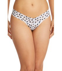 hanky panky spot low rise thong in white/black at nordstrom