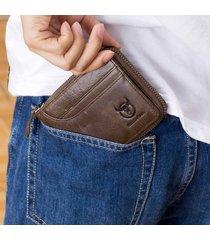 bullcaptain vintage portafoglio in pelle vera con zip con 7 card slots portamoneta