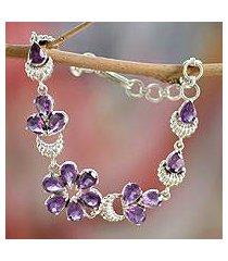 amethyst flower bracelet, 'lilac blossom' (india)