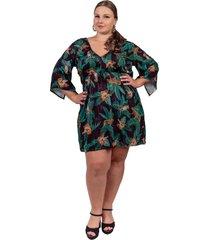 vestido arsenal  saãda de praia floral preto - preto - feminino - dafiti