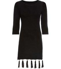 abito in maglia con frange (nero) - bodyflirt boutique