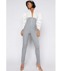 akira check me out poplin puff sleeve jumpsuit