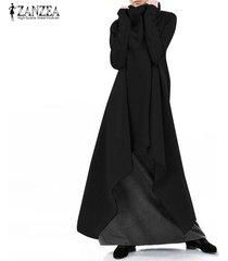 zanzea mujer de manga larga de cuello alto largo kaftan abaya holgada vestido alto-bajo maxi -negro