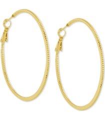 """essentials twisted look medium hoop earrings, 2"""""""