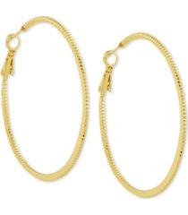 """essentials twisted look medium hoop fine silver plate earrings, 2"""""""