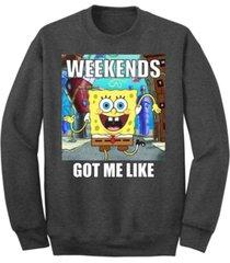 """men's spongebob """"weekends got me like"""" crew fleece sweatshirt"""