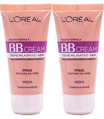 kit 2 bb cream l'oréal paris cor média fps 20 30ml