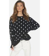 charleston le cashmere pullover - black/creme l