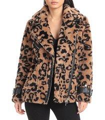 oversized-fit leopard-print teddy faux fur biker jacket