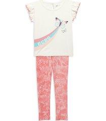 bcbgirls little girl's 2-piece graphic top & tie-dyed leggings set - cream - size 4t