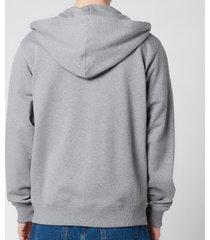 kenzo men's tiger crest full zip hooded sweatshirt - dove grey - xxl