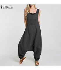 zanzea mujeres compruebe la caída de la tela escocesa de la entrepierna harem el traje de peto bib pantalones de carga de signo más (no incluye el interior y camisa) -negro
