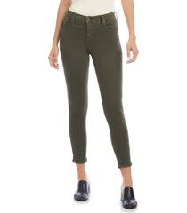 women's karen kane zuma high waist crop jeans, size 10 - green