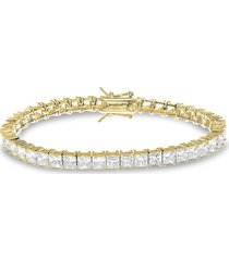 cz by kenneth jay lane women's look of real 14k gold-plated & cubic zirconia tennis bracelet