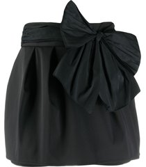 elisabetta franchi bow-embellished satin skorts - black
