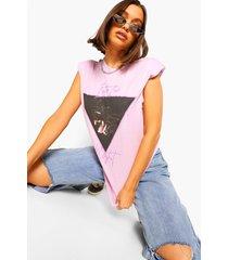 into the night rock t-shirt met schouderpads, purple