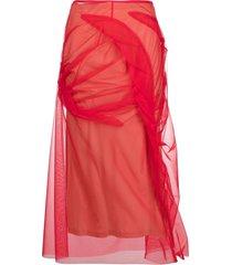 maison margiela red tulle-overlay asymmetric skirt