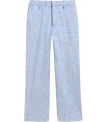pantalón lino wide leg azul banana republic