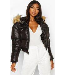 tall korte gewatteerde jas met faux fur capuchon, zwart