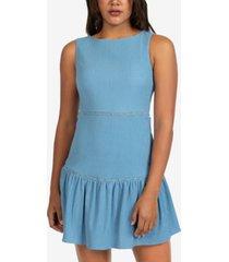 b darlin juniors' solid sleeveless gauze ruffled a-line dress