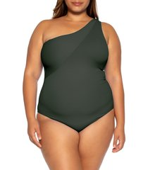 plus size women's becca etc. fine line one-piece swimsuit, size 0x - black