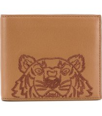 kenzo tiger-embroidered wallet - brown