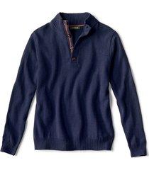 merino/cotton quarter-button sweater