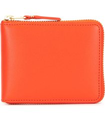 comme des garçons wallet zip-up leather wallet - red