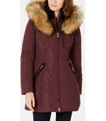 inc petite hooded faux-fur-trim puffer coat, created for macy's