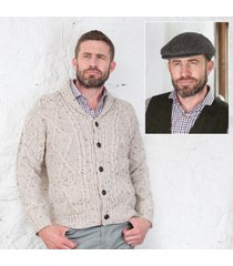 men's aran cardigan & cap set large