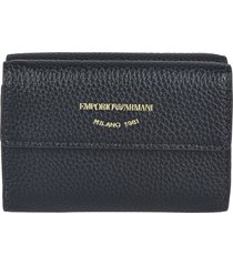 emporio armani grain leather snap button wallet