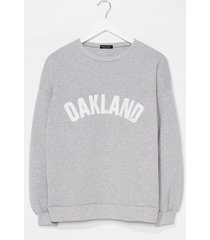 womens oakland graphic oversized sweatshirt - grey