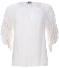 blusa arandelas unicolor color blanco, talla 6
