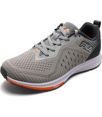 tenis lifestyle gris-negro-naranja fila gilly