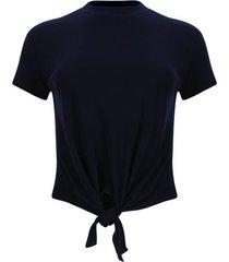 camiseta cuello alto con amarre color azul, talla 12