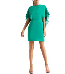 women's halston heritage cape sleeve cocktail dress, size 2 - green