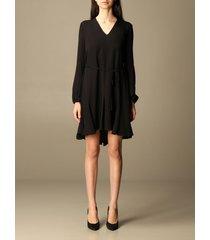 theory dress theory short dress in v-shaped silk
