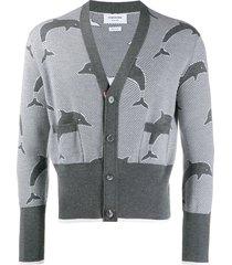 thom browne dolphin half drop v-neck merino cardigan - grey