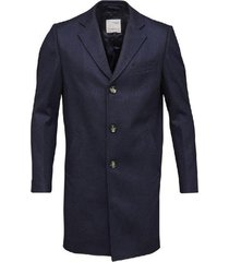 long midnight blue recycled wool coat