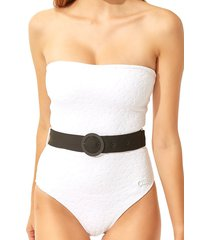 solid and striped women's madeline textured belted one-piece swimsuit - white - size xl