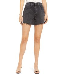 women's agolde parker distressed high waist cutoff denim shorts, size 28 - black